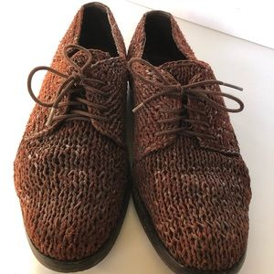 Rare italian hand knit leather shoes- 7.5 US